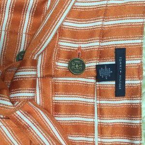 Tommy Hilfiger - orange stripe summer lined skirt